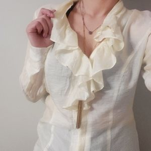 Coldwater Creek Shimmery Off White Ruffled Blouse